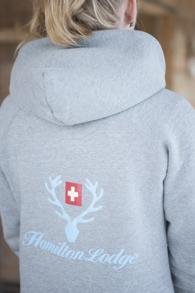 Staff with cool hoodies at Hamilton Lodge, Zweisimmen.